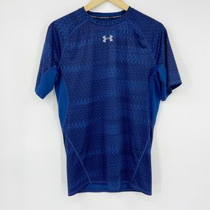 UA Heat Gear Short Sleeve Compression Shirt Blue